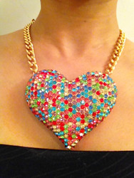 Crystal Heart Necklace-Multi Gold