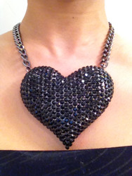 Crystal Heart Necklace-Black Hematite