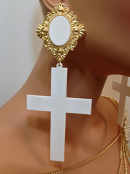 Rich Girls Cross Earring White and Gold