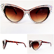 CRYSTAL Cat Eye SUN Glasses - AB on Brown Frame