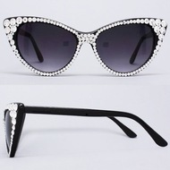 Optical CRYSTAL Cat Eye polarized SUN Glasses - Clear on Black Frame