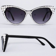 CRYSTAL Cat Eye SUN Glasses - Clear on Black Frame