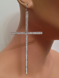 Oversized Rhinestone Cross Earrings-Silver with Clear Crystals