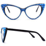 CRYSTAL Cat Eye Glasses - Blue on Black Frame