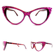 CRYSTAL Cat Eye Glasses - Fuchsia on Brown Frame