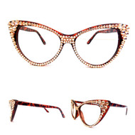 CRYSTAL Cat Eye Glasses - Peach on Brown Frame