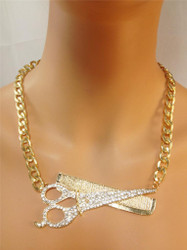 Oversized Sideways Shears and Comb Necklace-Gold