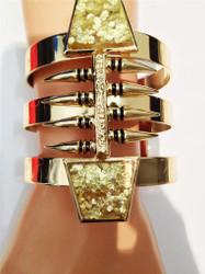Glitter Stone Spike Cuff Bracelet Gold