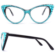 CRYSTAL Cat Eye Glasses - Turquoise on Black Frame