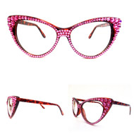 CRYSTAL Cat Eye Glasses - Rose on Brown Frame