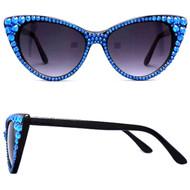 Polarized CRYSTAL Cat Eye SUN Glasses - Blue on Black Frame