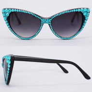CRYSTAL Cat Eye SUN Glasses - Turquoise on Black Frame