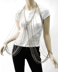 Necklace Bracelet Body Chain-Silver