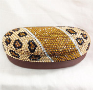 Crystal Leopard Sunglass Case-Gold