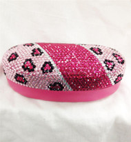 Crystal Leopard Sunglass Case-Pink