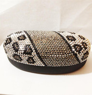 Crystal Leopard Sunglass Case-Silver Black