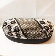 Crystal Leopard Sunglass Case-Silver Black