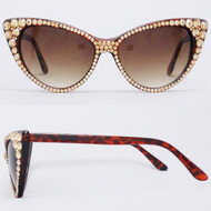 CRYSTAL Cat Eye SUN Glasses - Gold on Brown Frame