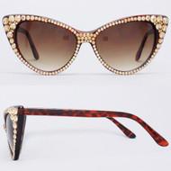 CRYSTAL Cat Eye SUN Glasses - Gold on Brown Frame