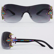 Crystal Fleur de Lis Sunglasses- Multi on Black