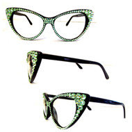 CRYSTAL Cat Eye Glasses - Mint on Black Frame
