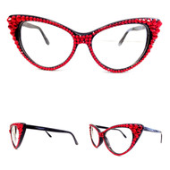 Optical CRYSTAL Cat Eye Glasses - Red on Black Frame