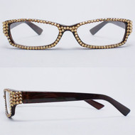 Crystal Reading Glasses- Gold on Brown Frame