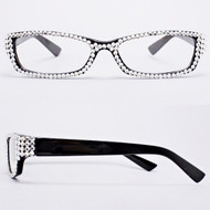 Crystal Reading Glasses- Clear on Black Frame