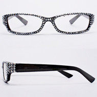 Crystal Reading Glasses- Hematite on Black Frame