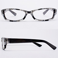 Crystal Reading Glasses- Snow Leopard on Black Frame