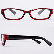 Crystal Reading Glasses-Red on Black Frame