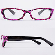 Crystal Reading Glasses-Fuchsia on Black Frame