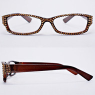 Crystal Reading Glasses-Brown on Brown Frame