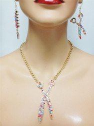 Crystal Shear Comb Necklace and Earring Set