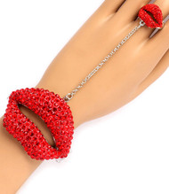 Crystal Juicy Lip Ring- Red Silver