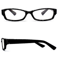 Crystal Reading Glasses- Black on Black Frame