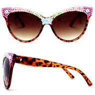 Half and Half Cat Eye Sunglasses - Multi/brown