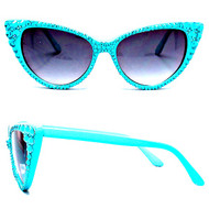 CRYSTAL Cat Eye SUN Glasses - Turquoise on Turquoise Frame