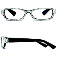 Crystal Reading Glasses- Mint on Black Frame