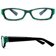 Crystal Reading Glasses- Emerald on Black Frame