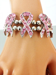 8 Breast Cancer Awareness Ribbons on a SIlver Beaded Bracelet