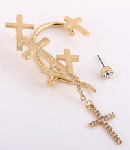 Multi Cross Ear Cuff and Stud Earring