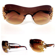 Crystal Fleur de Lis Sunglasses- Gold on Brown