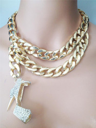 Gold Stiletto Pendant Necklace