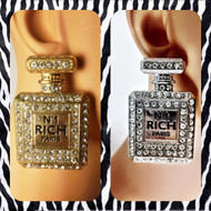 Oversized Crystal No.1 Perfume Bottle Stud Earrings