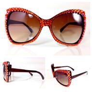 SQUARE Crystal Cat Eye Glasses-Orange
