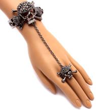Crystal Skull Slave Ring-Hematite