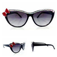 CRYSTAL Bow Cateye SUN glasses - Red Bow on Ab Black