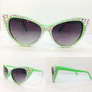 CRYSTAL Cat Eye SUN Glasses - AB on Mint