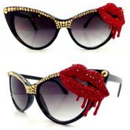 CRYSTAL Cateye SUN Glasses - Bleeding Lips